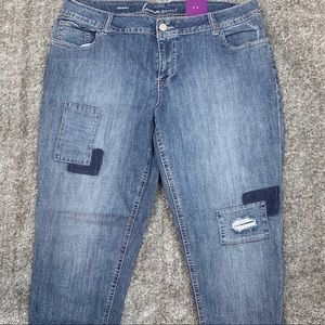 Skinny Patchwork Jeans by Lane Bryant NWT